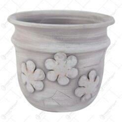Ghiveci din ceramica decorat cu flori 13x16 CM