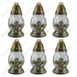 Set 6 candele de cimitir din sticla cu inger 21 CM