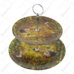 """Platou etajat cu 2 nivele din sticla """"Sarutul"""" de Gustav Klimt 20/25 CM (Model 1)"""