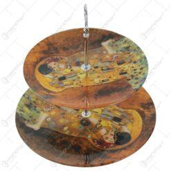 """Platou etajat cu 2 nivele din sticla """"Sarutul"""" de Gustav Klimt 20/25 CM (Model 2)"""