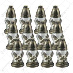 Set 12 candele de cimitir din sticla cu trandafiri 16 CM