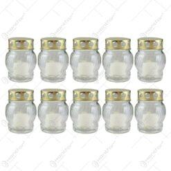 Set 10 candele de cimitir din sticla 15 CM