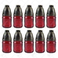 Set 10 candele de cimitir din sticla cu capac 13 CM