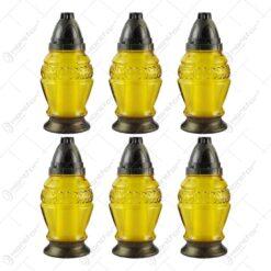 Set 6 candele de cimitir din sticla cu capac 23 CM