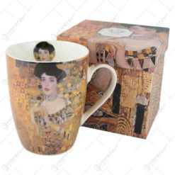 "Cana portelan 390 ml ""Portretul Adelei"" de Gustav Klimt in cutie decorativa"