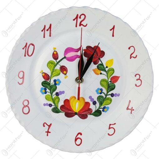 Ceas pictat manual din ceramica Flori 24 CM