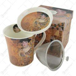 "Cana portelan 320 ml cu infuzor si capac ""Adele"" de Gustav Klimt in cutie decorativa"