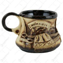 """Ceasca traditionala pentru cafea din ceramica """"Romania"""" 10 CM - Se vinde 6 buc/bax."""