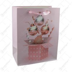 Punga cadou Craciun din hartie 18x23 CM - Roz/Cutie de cadou