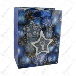 Punga cadou Craciun din hartie 18x23 CM - Bleumarin/Globuri de brad