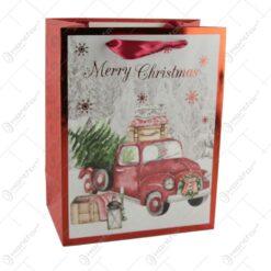Punga cadou Craciun din hartie 18x23 CM - Merry Christmas/Masinuta