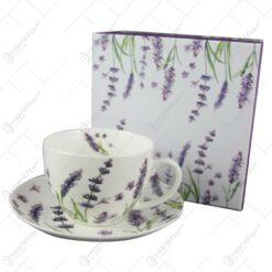 Ceasca cu farfurie portelan 250 ml Lavanda in cutie decorativa