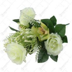 Buchet artificial de trandafiri si orchidee 39 CM