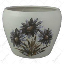 Ghiveci din ceramica pictat manual Flori 16x12 CM