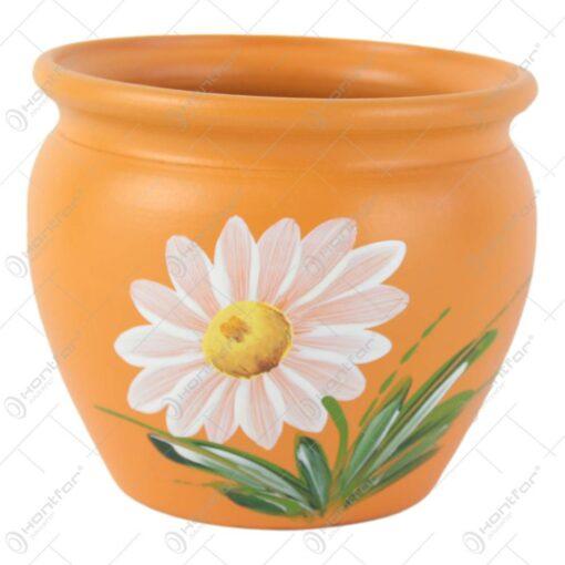 Ghiveci din ceramica pictat manual Flori 11x9 CM
