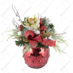 Decoratiune Craciun pentru masa cu globuri si ingeras Auriu/Rosu 25 CM