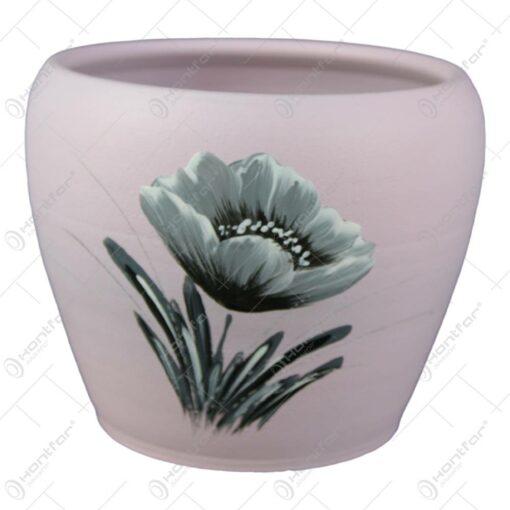 Ghiveci din ceramica pictat manual Flori 14x11 CM