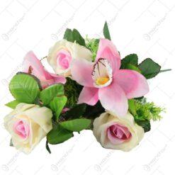 Buchet artificial cu trandafiri si orchidee 38 CM