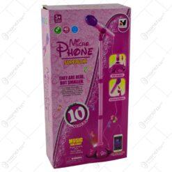 Microfon cu stativ reglabil si cu posibilitate de Conectare la MP3 Roz