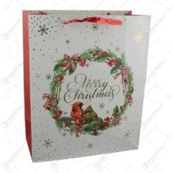 Punga cadou Craciun din hartie 26x32 CM - Merry Christmas/Pasari