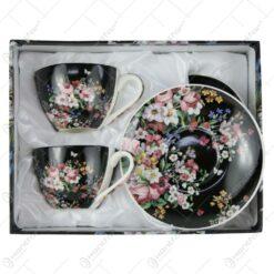 Set 2 cesti cu farfurie pentru espresso 110 ml Vintage Flowers Black
