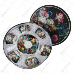 Set 6 cesti cu farfurie din portelan 250 ml - Buquet - Design Floral