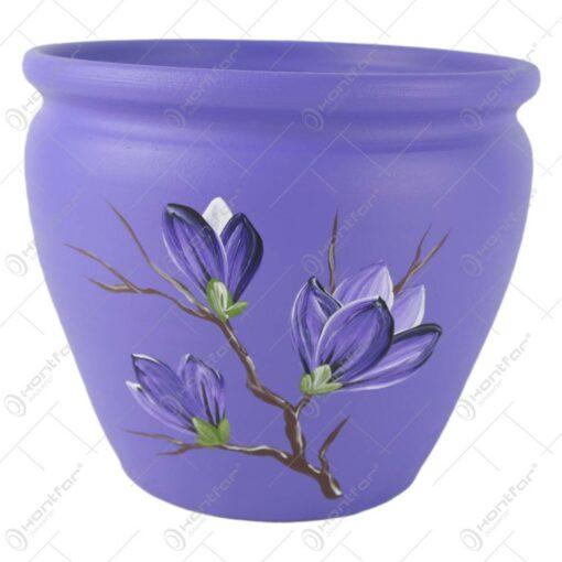 Ghiveci din ceramica pictat manual Flori 19x16 CM