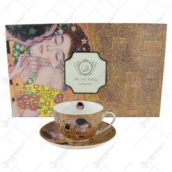 """Set 6 cesti cu farfurie din portelan 280 ml """"Sarutul"""" de Gustav Klimt"""