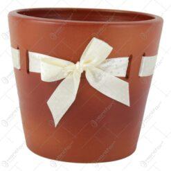 Ghiveci din ceramica cu panglica satin buline 12x10 CM