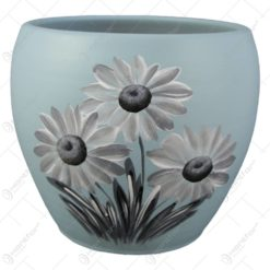 Ghiveci din ceramica pictat manual Flori 16x14 CM