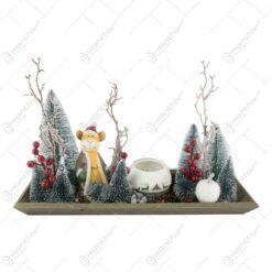 Decoratiune Craciun pentru masa cu candela si ren 40 CM