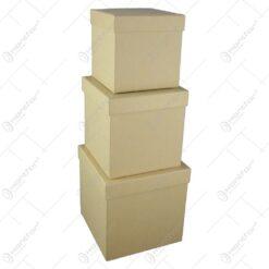 Set 3 cutii cadou in forma de cub Unicolor Crem 16x16 CM