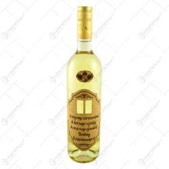 """Vin alb 0.75l cu eticheta personalizata din pluta - Design """"Boldog Szuletesnapot!"""" (Model 1)"""