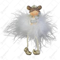 Figurina Ingeras balerina din rasina si pene 10 CM