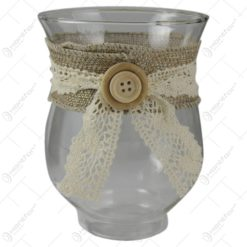 Candela din sticla cu dantela 12 CM