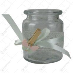 Candela dantelata cu clema decorativa fluturas
