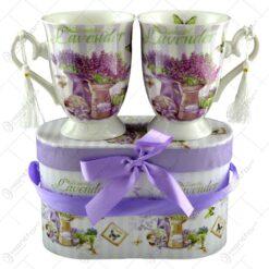 Set 2 cani din ceramica in cutie decorativa - Beautiful Lavanda