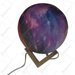 Lampa Luna Galaxy 3 D cu telecomanda si suport lemn 15 CM