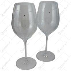 Set 2 pahare pentru vin din sticla 470 ml - Design elegant