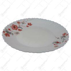 Farfurie intinsa din sticla opal cu decor floral 24 CM - Se vinde 6 buc./bax.