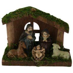 Ornament de Craciun Sceneta Betleem din lemn 12 CM