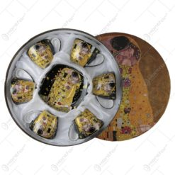 """Set 6 cesti cu farfurii si lingurite din portelan """"Sarutul"""" de Gustav Klimt"""