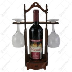 Suport lemn in forma de vioara cu o sticla de vin si doua pahare 36 CM