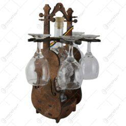 Suport lemn in forma de vioara din cu o sticla si 4 pahare 36 CM