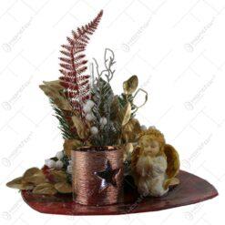 Decoratiune de masa pentru Craciun cu candela si ingeras 33x36 CM