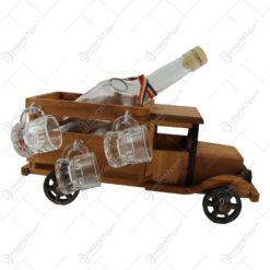 Suport lemn Camion cu o sticla de tuica si 6 pahare cu maner 31 CM