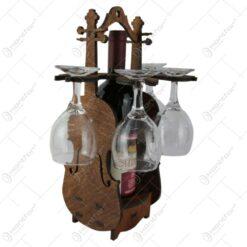 Suport lemn in forma de vioara cu o sticla de vin si 4 pahare 36 CM