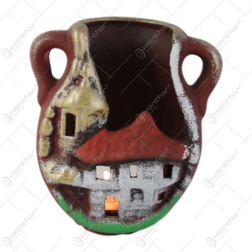 Candela din ceramica tip amfora 12 CM