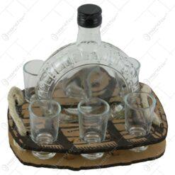 Suport din lemn Butoi cu o sticla si 6 pahare 20 CM