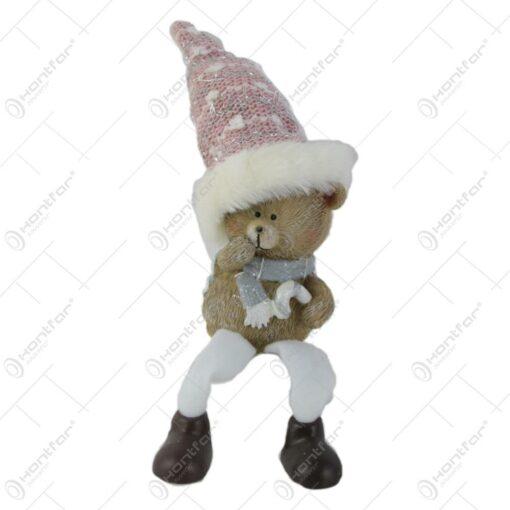 Figurina Craciun Ursulet in caciula cu picioare textil 16 CM